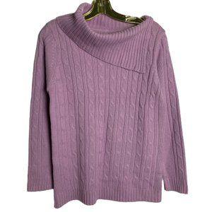 Trendy Lilac Knit Sweater Asymmetric Neckline